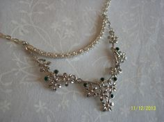 Silver Floral Necklace with Green Crystals & Pave Crystal Bar on nickel free chain with lobster clasp by DysfunctionalAries, $25.00