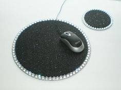 BLACK & BLING Mousepad/Coaster Set by LaurieBCreations on Etsy, $14.00