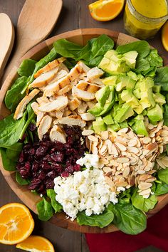 Cranberry Avocado Spinach Salad with Chicken and Orange Poppyseed Dressing