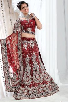 Designer Embroidered Wedding Lehenga Choli; Carmine Red Net Embroidered Bridal and Wedding Lehenga Choli