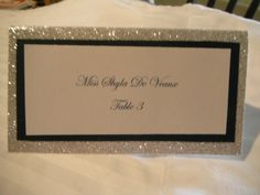 Glitter Escort Card Place Card Name Cards by BlackTieWeddings, $1.50