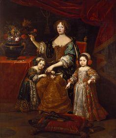Louise de La Vallière (Françoise Louise de La Baume Le Blanc; 1644 – 1710)  mistress of Louis XIV from 1661 to 1667.  Seen here with her two surviving children Marie Anne, Princess of Conti and Louis, Count of Vermandois.