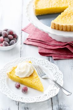 Buttermilk Chess Pie with Sugared Cranberries - a perfect holiday dessert!