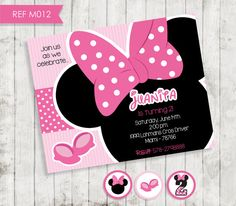 Minnie Mouse Birthday Invitation Party por CreativaDesignCo