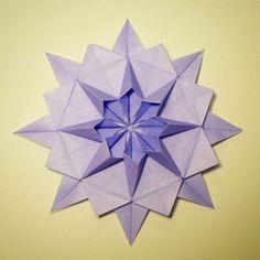 February 14th 2015 Origami dahlia I made today. #origami #paper #folding #flower #dahlia #purple #lilac #diy #craft #45