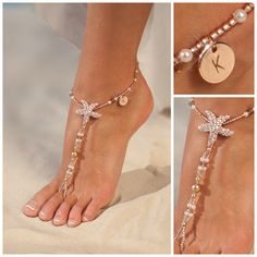Personalized rose gold jewelry, Starfish Barefoot sandals, Wedding gift, Unique gift, Personalized Womens anklet, Initial Gift for Women by BarmineStyle on Etsy https://www.etsy.com/listing/280768398/personalized-rose-gold-jewelry-starfish