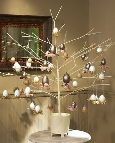 """Jeweled Egg Display - Blown-out eggs,  Pewter paste (optional),  Latex gloves(if using pewter paste),  Paper towel(if using pewter paste),  20"""" length of .5 millimeter jewelry, elastic,  Teardrop-or pear-shaped Swarovski crystal bead w/horizontal hole,  Fabric flowers,  Wire cutters,  Beading needle(forsmaller eggs),  6"""" piece of wire & pliers(for larger eggs),  Needle or Dremel drill(if using store-bought blown eggs)"""