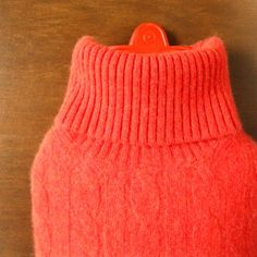 coziest cashmere hot water bottle cover in orange cable knit cashmere by effiehandmade on @Etsy