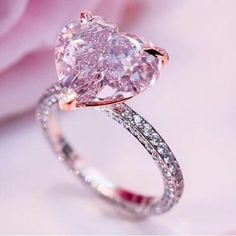 Pink Heart Cut Diamond Solitaire Engagement Ring in 925 Sterling Silver # pink wedding rings Heart Shaped Engagement Rings, Diamond Engagement Rings, Solitaire Rings, Pink Wedding Rings, Pink Rings, Heart Wedding Rings, Ruby Rings, Bridal Rings, Gold Wedding