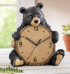 Black Bear Clock  - A lovable Northwoods themed Home decoration
