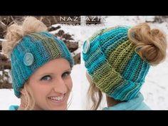 (12) DIY Tutorial - Crochet Messy Bun Hat Beanie - Ribbed Bun Pony Tail Updo Hat Gorro with Hole on Top - YouTube