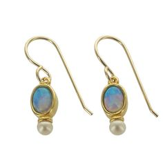 Petite Vermeil earrings with oval blue opal and pearl. Designed and handmade in northern California by Sierra Sonoma Art Works. Comes in gift box.