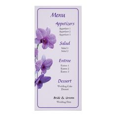 Designs by Susan Savad - Cascade of Purple Orchids Menu  -- Orchid wedding menu that you can customize yourself. #wedding #weddingmenu #customize #flower #flowers #orchid #orchids #tropical   $0.55  per card   BULK PRICING AVAILABLE!