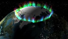 When we see an auroral arc – and associated rays – we really seeing a small section of the much larger, permanent aurora called the auroral oval. The northern oval is centered over the geomagnetic north pole located in northern Canada. Credit: NASA