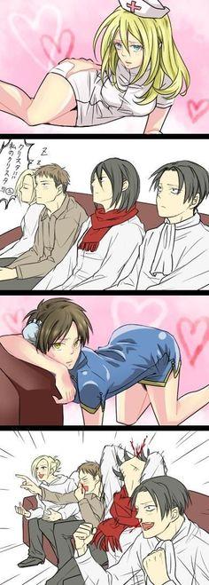 Shingeki no Kyojin Historia x Mikasa x Levi x Jean x Eren x Annie