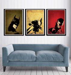 Minimalist A3 poster set Batman Wolverine and Iron by cutejungle, $40.00