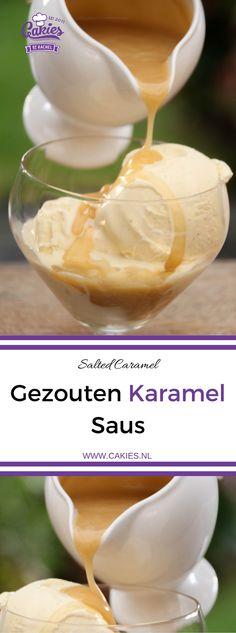 Gezouten Karamel Saus kan je schenken over ijs, taarten, cupcakes, desserts of gebruik het als dipsaus, gezouten karamel is altijd wel te gebruiken :) | http://www.cakies.nl | Recept