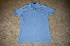 Polo Ralph Lauren Mens Heathered Blue Polo Shirt Pink Pony Golf Size Medium M #RalphLauren #PoloRugby