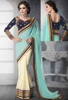 You will be solo performer at any occasion by wearing classic sky cream georgette silk party wear saree for girls. New style lace border sarees online for young women. More : Any Query: Call / WhatsApp : E-mail: info Lehenga Style Saree, Sari, Blue Saree, Online Shopping Sarees, Buy Sarees Online, Hyderabad, Chennai, Latest Blouse Patterns, Sarees For Girls