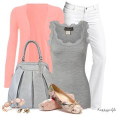 """PINK & GREY"" by happygirljlc ❤ liked on Polyvore"