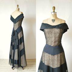 1930s Black Lace Dance Dress  Vintage Illusion by DalenaVintage, $450.00