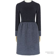 The Row Ash Blue Midnight Navy Contrasting Fabric Tweed Jacquard Dress US6 UK10 | Clothes, Shoes & Accessories, Women's Clothing, Dresses | eBay!