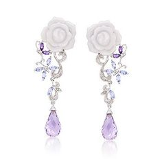Ross-Simons - 7.20 ct. t.w. Multi-Gem and White Agate Carved Rose Earrings in Sterling Silver - #671287