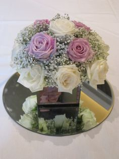 Mirror cube with rose and gypsophila
