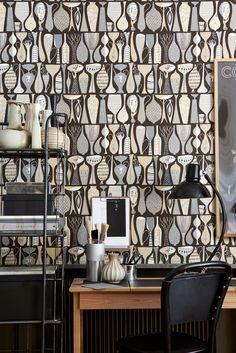 Papier peint Pottery - Tons marron, gris et beiges Unique Wallpaper, Contemporary Wallpaper, Wall Wallpaper, Beige Wallpaper, Scandinavian Wallpaper, Scandinavian Interior Design, Stig Lindberg, Designer Wallpaper, Decor Styles