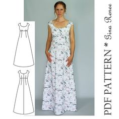 Maxi Dress Sewing PDF Pattern - Womens Maxi Dress Pattern - Maxi Dress patterns for Women Such a perfect staple dress sewing pattern for your wardrobe. This long maxi woven dress can be sewn with solids, florals or prints! This is a very flattering fitted Dress Sewing Patterns, Sewing Patterns Free, Clothing Patterns, Pattern Sewing, Pattern Dress, Long Dress Patterns, Pattern Drafting, Blouse Patterns, Maxi Dress Patterns