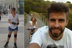 """A la hora de ir sobre ruedas, parece que Shakira prefiere los patines. El domingo, su pareja -el jugador blaugrana Gerard Piqué- compartió la imagen de la derecha: """"Mirar a quién estoy viendo por el retrovisor! No tiene ninguna opción de ganar..."""", presumía él. Así que ayer la cantante compartió otra imagen algo más sonriente: """"Hoy voy en patines""""."""