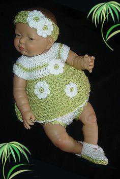 Crochet Diaper Dress Set for Newborn Baby Girl Crocheted in Soft Fern and White by MimisCrochetDen on Etsy