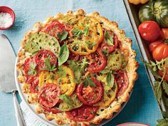 Make the most of summertime tomatoes with these sweet and savory tomato pie recipes.We raised the ante on classic tomato pie with a sour cream crust studded with bacon, layers of colorful tomatoes, and plenty of cheese and herbs to tie it all … Fresh Tomato Recipes, Vegetable Recipes, Tomato Pie With Bacon Recipe, Spinach Recipes, Quiche Recipes, Bacon Recipes, Vegetable Dishes, Casserole Recipes, Bacon Pie