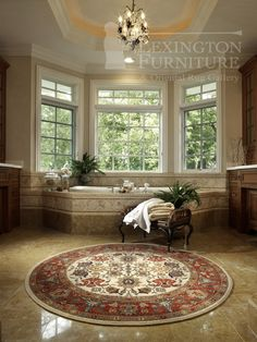 Beautiful Wool Karastan Round Oriental Rug In A Bathroom Www Lexingtonorientalrugs