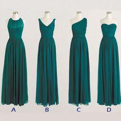 Mismatch Hunter Green Long Bridesmaid Dresses, Chiffon Cheap Bridesmaid Dress, Green Bridesmaid Dresses, Long Prom Dresses, Elegant Evening Gowns, Dresses For Weddings