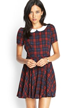 Forever 21 Plaid Peter Pan Collar Dress in Blue (Navy/red)
