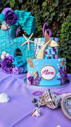 70 New Ideas for baby girl birthday cake theme Baby Girl Birthday Cake, Mermaid Birthday Cakes, Girl Birthday Themes, Little Mermaid Birthday, 2nd Birthday Parties, Birthday Party Decorations, Mermaid Cakes, Birthday Ideas, Party Ideas
