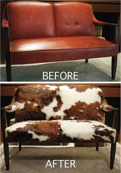 Cowhide reupholster for the settee sofa Cowhide Decor, Cowhide Furniture, Reupholster Furniture, Western Furniture, Rustic Furniture, Painted Furniture, Home Furniture, Cowhide Rugs, Vintage Western Decor