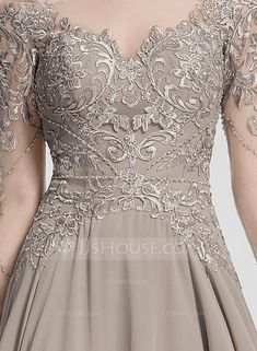A-Line/Princess Scoop Neck Floor-Length Chiffon Evening Dress With Beading Sequins - Evening Dresses - JJ's House Brides Mom Dress, Mother Of The Bride Dresses Long, Mothers Dresses, Long Mothers Dress, Mob Dresses, Bridal Dresses, Fashion Dresses, Evening Dress Patterns, Chiffon Evening Dresses