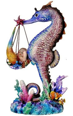 Mer Birther Seahorse Mer-baby Delivery Colorful Seahorse, Seahorse Art, Seahorses, Mermaid Sculpture, Baby Delivery, Mermaid Artwork, Water Fairy, Mermaid Gifts, Sea Dragon