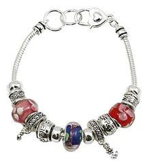 Best Friends Charm Bracelet H2 Tiny Flowers Red Pink Blue Murano Beads Silver tone. Best Friends Charm Bracelet Tiny Tiny Flowers. Red Blue Pink Murano Glass Beads Engraved Silver Beads. Silver Tone 7 inches Pretty Heart Lobster Clasp. Fast and Free Shipping from the USA. Shipped in a Gift Box.