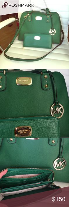 Michael Kors matching purse and wallet Beautiful jewel toned emerald green bag with matching wallet. This is a large bag and can be worn as a shoulder bag, cross body or in the crook of your arm. Definitely a statement bag. I always got compliments when I wore this bag. Well cared for with normal signs of wear on the gold hard ware. KORS Michael Kors Bags Wallets
