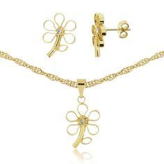 Conjunto de florzinha folheado a ouro com corrente, brincos e pingente com detalhe em swarovisky    Tamanho 45 cm - 2 cm R$ 39,99