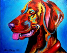 "Kleurrijk modern schilderij ""Dog"", acryl op canvas, 50x40cm"