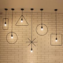 Nordic Minimalist Wind Creative Retro Wrought Iron Chandelier Geometric Art Restaurant AC220V Droplight Hanging Pendant Lamp LED(China (Mainland))