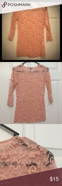 Fitted Peachy Lace Top I can't remember if I have ever worn it, it looks brand new to be honest. 3/4 length sleeves, soft and stretchy. DYNAMITE Tops