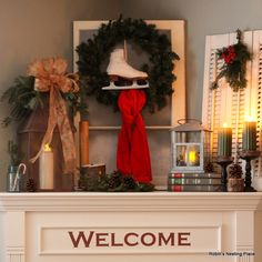 I have a corner fireplace that is deep and awkward and very difficult to decorate. I have scoured the internet for mantle inspiration and t. Christmas Mantels, Christmas Holidays, Christmas Wreaths, Christmas Ideas, Holiday Ideas, Holiday Time, Christmas Stuff, Happy Holidays, Christmas Crafts