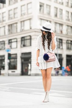 English Rose :: Ruffle shift dress & Blush bag :: Outfit :: Dress :: English Factory Bag :: Louis Vuitton Shoes :: Gianvito Rossi Accessories :: Karen Walker sunglasses, BaubleBar rings, Hat Attack hat , faux fur key charm Published: August 10, 2015