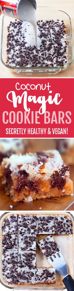 Ooey Gooey Chocolate Chip Coconut Magic Bars! Comes with healthy  / gluten free graham cracker recipe