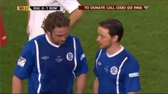 James McAvoy enters the 'Soccer Aid' game to play with team member, Gerard Butler, for 'Rest of the World' against 'England' on Sunday, May 27, 2012 at Old Trafford in Manchester, England.